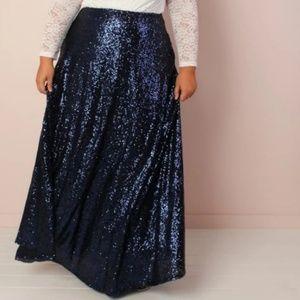 The Showstopper Sequin Maxi Skirt - Dark Blue